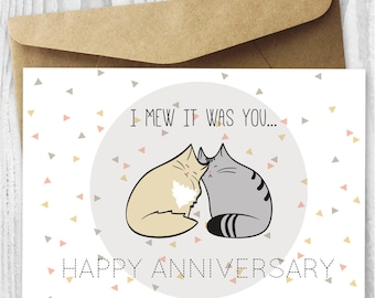 Anniversary Card, Printable Anniversary Card, Romantic Anniversary Cat Card DIY, Anniversary Cats Digital Download Card