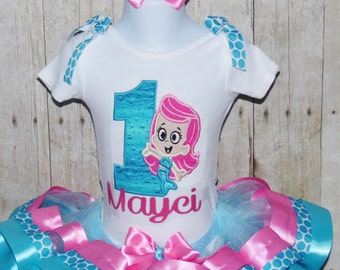 Bubble Guppies inspired ribbon trim tutu, Bubble guppies birthday outfit. Bubble guppies dress, fish girl dress, any numbers any colors