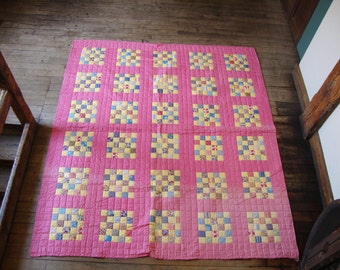 1930's Hand Quilted Patchwork Quilt-Pretty Spring Colors