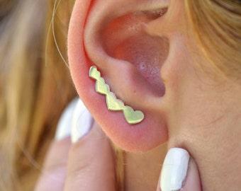 Heart ear pins,Heart earring crawler, Heart ear climber, women ear jacket silver, trending heart earring.