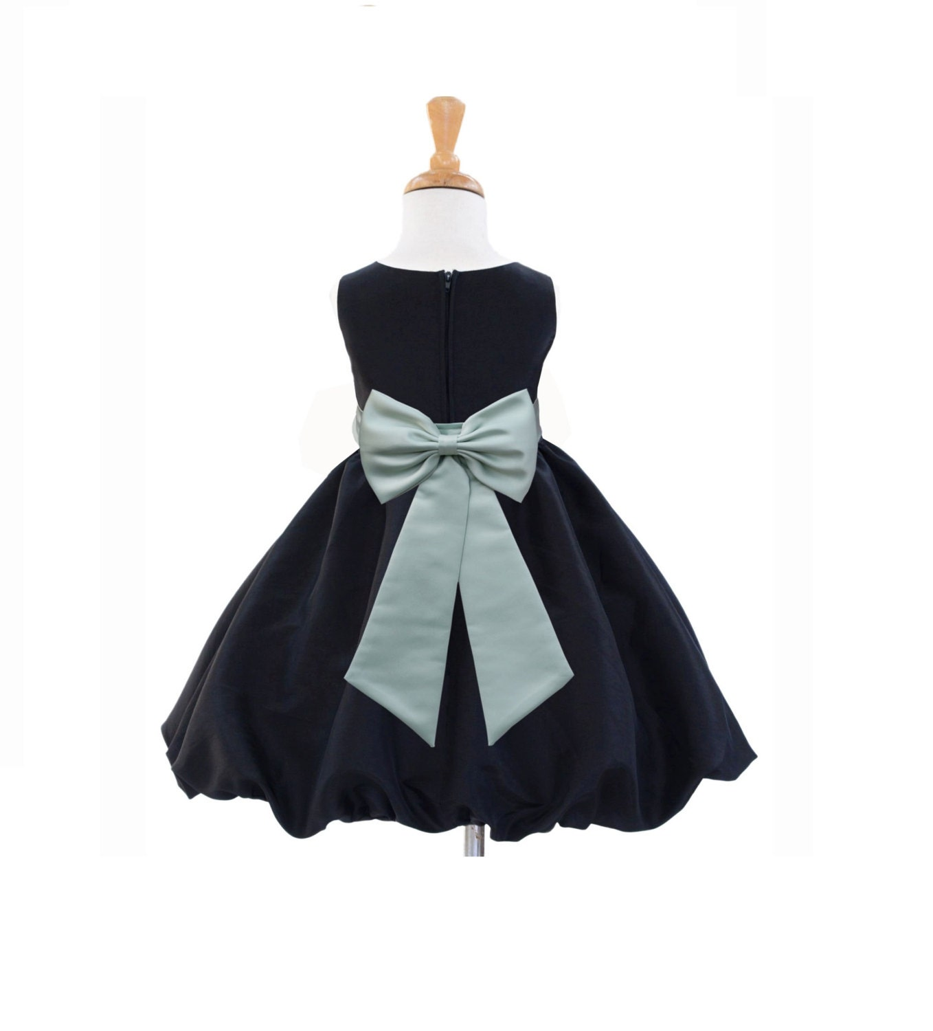 Black Taffeta Summer Flower Girl dress tiebow by ekidsbridalusa