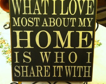 What I Love Most About My Home is Who I Share it With 12x12 sign