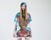 Oversized tshirt dress Summer brignt dress Turquoise Coral Hand-painted tunic with a portrait