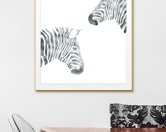 Silver Art, Silver Wall Print, Silver Zebra Wall Art Digital Download, Silver Digital Art, Silver Animal, Silver Printable Art, Silver Wall