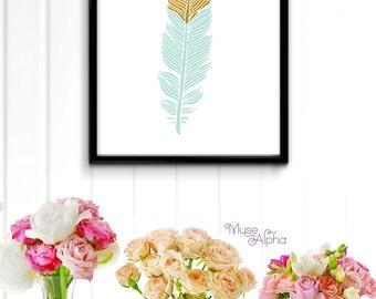 Pastel Modern Art, Pastel Mint Minimalist Art, Soft Pastel Print, Feather Design, Pastel Colors Print, Mint Pastel Print, Feather Print Art