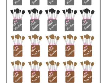 Clean Makeup Brush Stickers // T002
