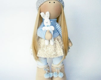 Rag doll Girl with little bunny Collectible dolls Cloth doll Stuffed doll Softie doll Gift idea Unique gifts Birthday Nursery decor