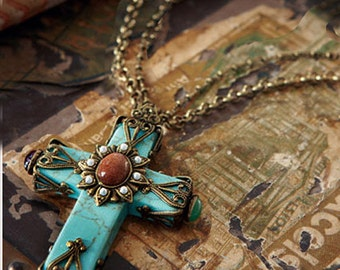 Turquoise Cross Necklace, Southwest, Cathedral Cross Necklace, Cross Pendant, Turquoise Jewelry, Faith Necklace, Religious Jewelry N190