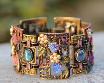 Art Deco Bracelet, Chinese Bracelet, Asian Jewelry, Rose Bracelet, Oriental Jewelry, Vintage Bracelet, Flower Bracelet, Flower Jewelry BR999