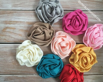 """2 Satin Petti Puff Flowers - 3"""" Flower Head - Choose Your Color - Hair Accessory Supplies - DIY - Create Your Own Accessories"""
