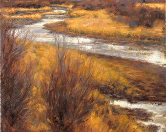 Original Landscape Oil Painting, 'Wyoming Stream', Framed
