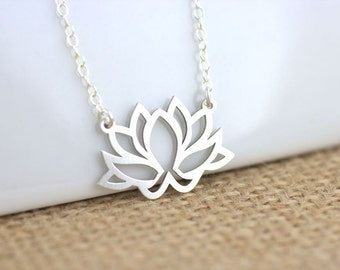 Lotus Necklace, Lotus Jewelry, Yoga Jewelry, Flower studs, petite and dainty, everyday jewelry