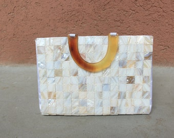 1950's Tortoise and Mother of Pearl Bag – Vintage Bridal Bag 50's Mother of Pearl Purse - Wedding 1950's Bag