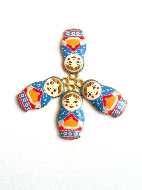 Baby Blue Matryoshka Nesting Doll Charms 4pcs by KajaSupplies