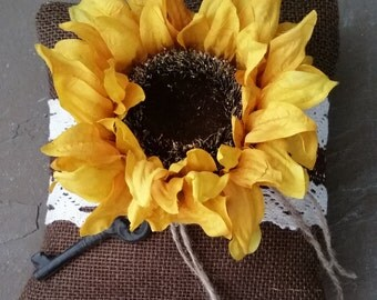 Beautiful Handmade rustic sunflower, dark brown burlap and lace ring bearer pillow with metal key
