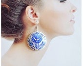 Earrings of wood with hand painted Blue Jewelry Handmade Earrings Gift Idea for her Blue and white Expressive and elegant Jewelry Folklore