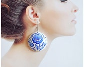 Round Blue Earrings of wood with hand painted Jewelry Handmade Wedding Earrings Gift Idea for her Blue and white Expressive Jewelry Folklore