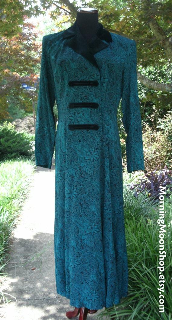 Gothic Boho DRESS, VINTAGE Lanz, DESIGNER 1980s, deep green & black paisley print, black velvet collar, Folkloric details, Rayon midi/maxi