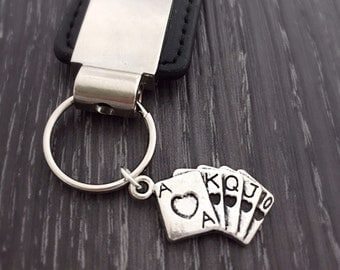 Poker Cards Keychain, Playing Cards Keyring, Poker Player Gambler Gift, Casino Theme Party Favors, Vegas Jewelry, Purse Charm, Custom Gift