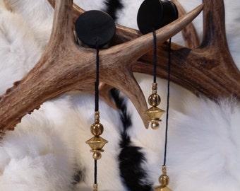 Plug with weights, ear plug, ear plugs, ear plugs, Ironwood, ebony, wood, brass, brass