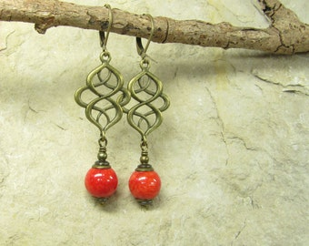 Earrings CHILI, jade earrings, ethnic earrings, earrings bronze ornament infinity jade red coral Oriental, vintage style handmade