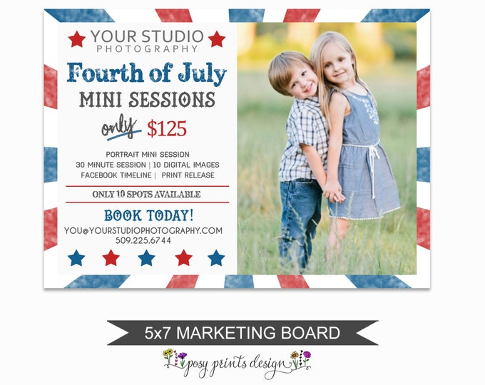 4th of July Mini Session Marketing Board - Template for Photographers - Digital Photoshop Template - 5x7 Photography Design - FJM02