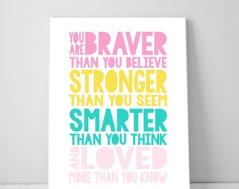 You Are Braver Than You Believe, Girl Bedroom Printable Inspirational Quote Digital Print Instant Download, Wall Decor Art Print