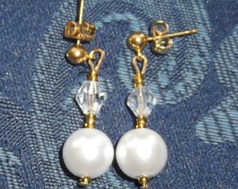 Crystal & Pearl Earrings, Medium length available in gold or silver in white or ivory pearls
