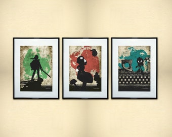 3 Piece Video Game Minimalist Print Collection. Geek Art.