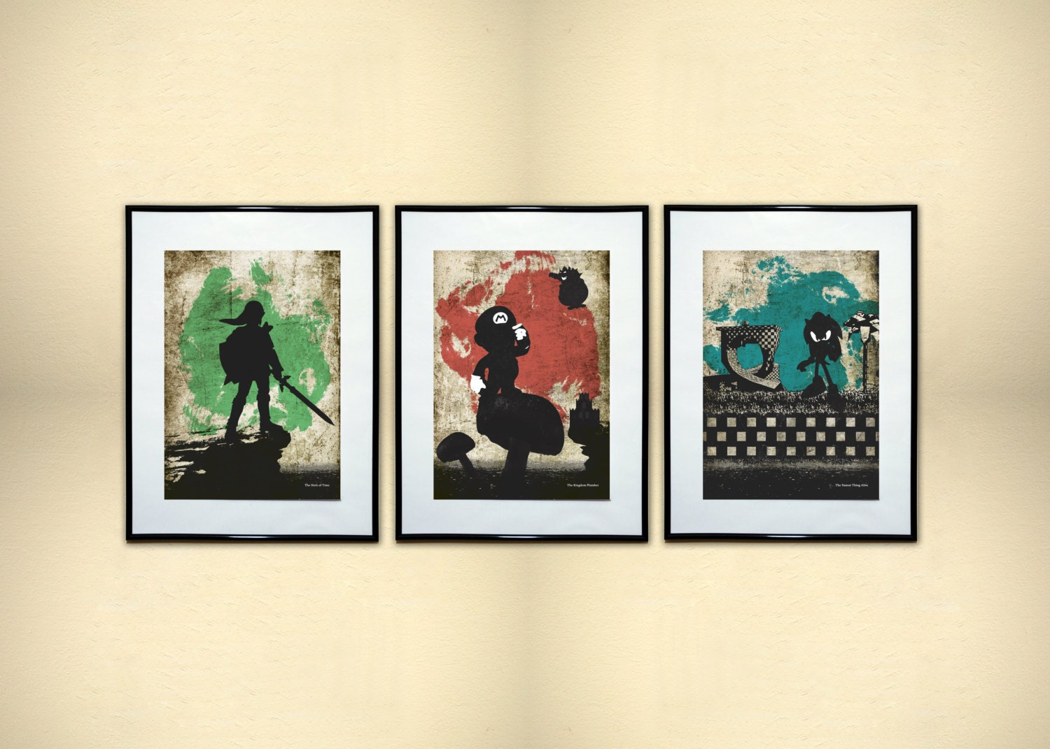 3 piece video game minimalist print collection geek art for Minimalist art pieces