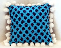 Blue Clover Throw Pillow Cover with White Hanging Woolen Ball Trimming Border