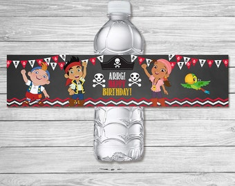 Jake & The Neverland Pirates Drink Label / Jake The Neverland Pirates Birthday Party / Neverland Pirates Birthday Favor - Water Bottle Label