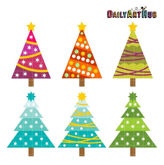 Items similar to christmas trees clip art holiday tree