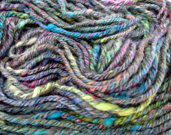 Handspun yarn  Hand dyed 3-ply yarn Knitting yarn Nawajo-ply Thick and thin  Natural wool yarn 110gr (3,88 OZ)