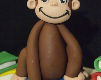 Fondant Curious George Inspired Cake Topper (MADE TO ORDER)