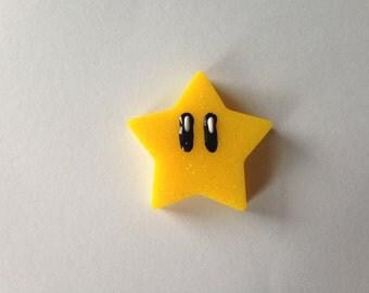 super mario glittery super star resin pinback button or hair clip