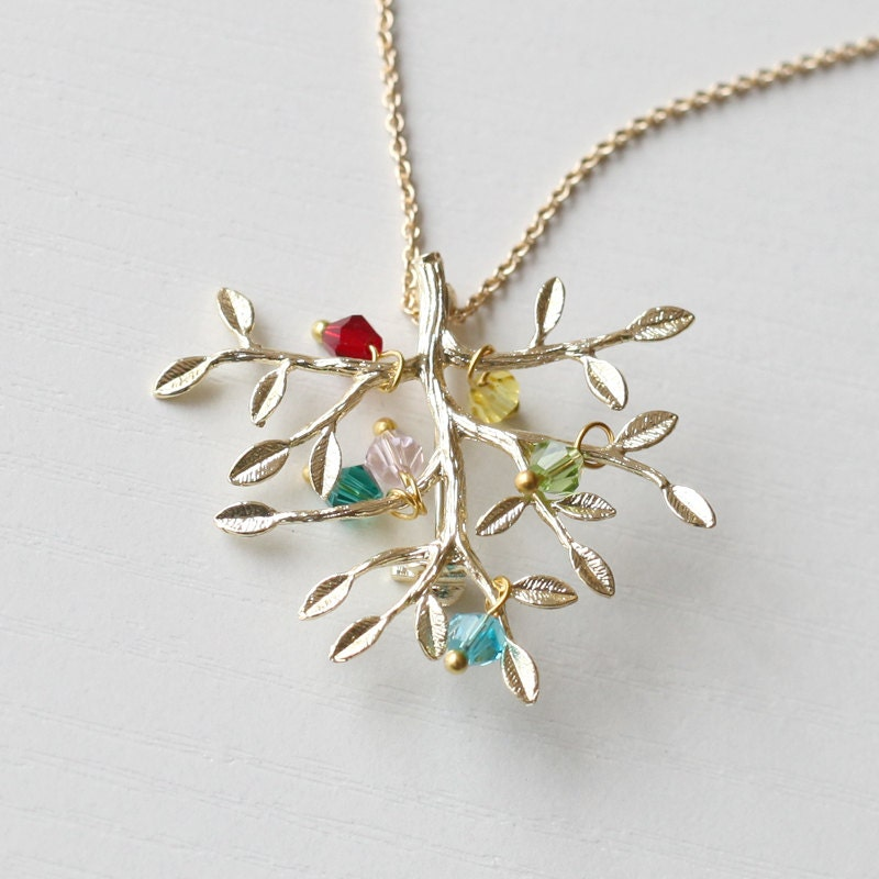 family tree necklace birthstone necklace by