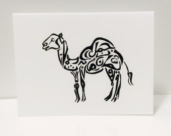 Camel Card Arabic Calligraphy Original any occasion set (blank inside, folded card)
