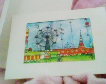 "ATC ACEO Frame Card with a PRINT of an Artist Trading Card ""Carnival"" Watercolor Gift Card Collectible Art Cards"