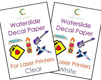 CLEAR Waterslide Decal Paper for LASER Printers - Choice of Pack Sizes - Perfect for Candles, Model-Makers, Ceramics + More!