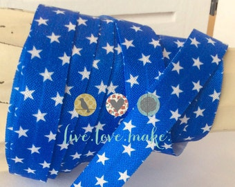 "5/8"" Blue Stars-Fold Over Elastic-FOE-Elastic by yard-Foldover Elastic-DIY Headbands-4th of July-Fourth of July-red white blue-owl"