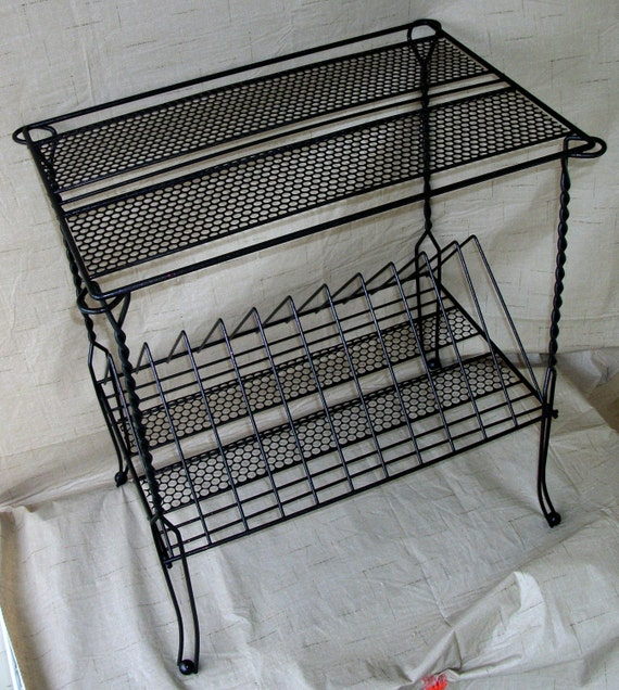 Vintage Metal Wire Record Player Stand Album Rack by CoffeePotShop