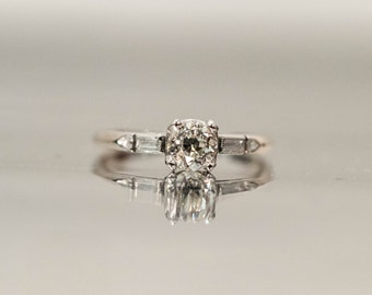 Antique Platinum Diamond Ring ATL #161
