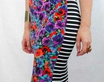 Floral & Stripe Pencil Skirt Stripe Print Skirt Stretch Pull On Knit Pencil Skirt High Waist Pencil Skirt High Waisted