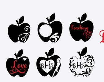 Teacher Apples SVG, Apple SVG, Apple vector, apple clipart, apple monograms, teacher svg, teacher clipart, teacher vector, teacher monograms