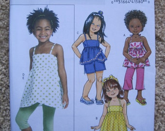UNCUT Girls Top, Dress, Shorts, Pants and Leggings - Size 6 to 8 - Butterick Sewing Pattern B5020