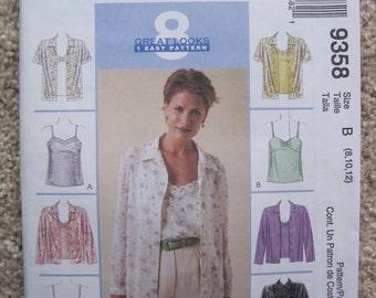 UNCUT Misses Shirt and Camisoles - McCalls Pattern 9358