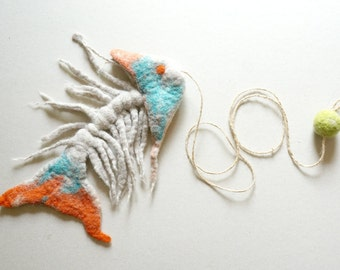 Cat toy, felted cat toy fish skeleton, cat treat, cat lover gift, gift for cat, cat play