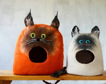 "Cat bed Cat cave Cat house Felted wool cat bed handmade eco friendly pet bed ""Siamo Cat"" Cat lover gift by Indre Naujokiene"