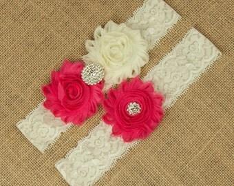 Hot Pink Wedding Garter, Bridal Garter, Hot Pink, Hot Pink Bridal Garter Set, Custom Wedding Garter, Pink Wedding Garter, Garter, SCI1-R06